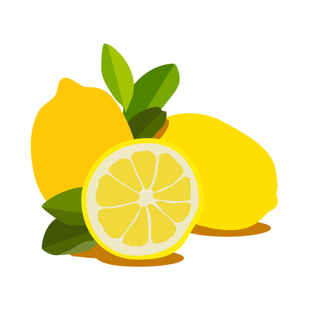 lemon: Illustration of lemon, lemon slice, lemon isolated Stock Photo