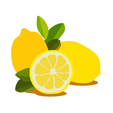 lemon: Ilustraci�n de lim�n, rebanada de lim�n, lim�n aislado Foto de archivo