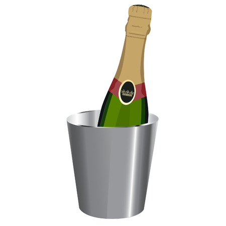 ice bucket: Champagne bottle, ice bucket, raster, isolatedon white Stock Photo