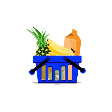 foodstuffs: Illustration of full basket, basket raster Stock Photo