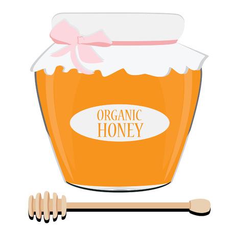 honey pot: Honey pot with label honey and  honey dipper raster illustration. Honey spoon. Honey jar