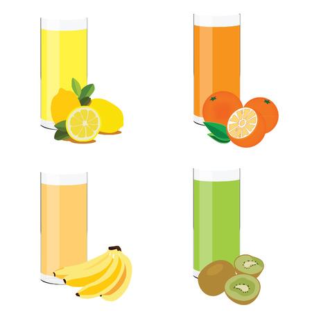 jus de citron: Juice glass, lemon juice, orange juice, kiwi juice, banana juice