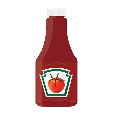 トマト ケチャップ、ソース ボトル ラスター アイコン、ラベル、ステッカー