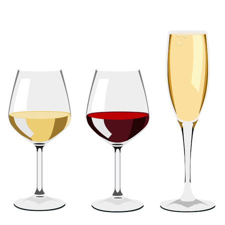 wineglasses: Glass of wine, red wine, white wine, champagne, glass set Stock Photo