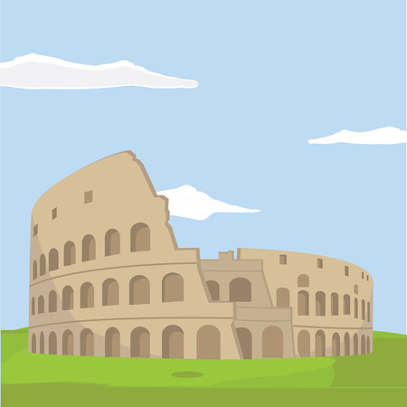 colosseo: Colosseum in Rome background. Italy Landmark architecture vector illustration.