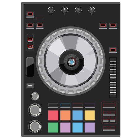 mixing: Vector illustration dj club music console. Mixing desk production sound desk console sliders, buttons, knobs and switches