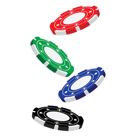 poker chips: Vector illustraton of red, blue, green and black falling poker chips. Casino chips