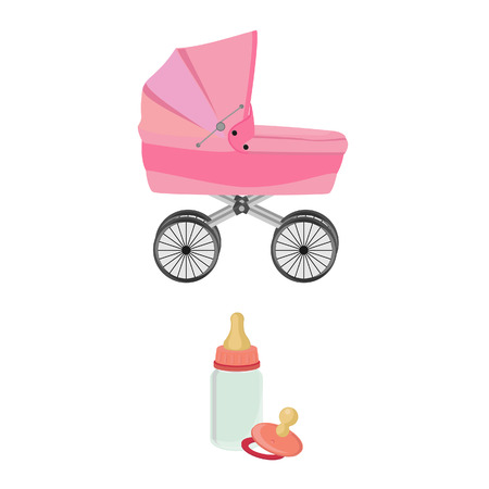 teat: Pink baby carriage, feeding bottle and pacifier, collection, isolated on white Stock Photo