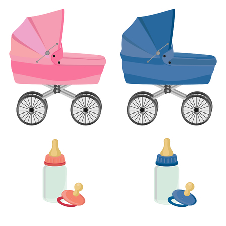 feeding bottle: Baby care set,baby carriage, feeding bottle and pacifier, collection, isolated on white