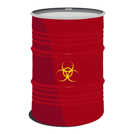 radioactive tank and warning sign: Red barrel toxic, radioactive, container, danger, toxic barrel Stock Photo