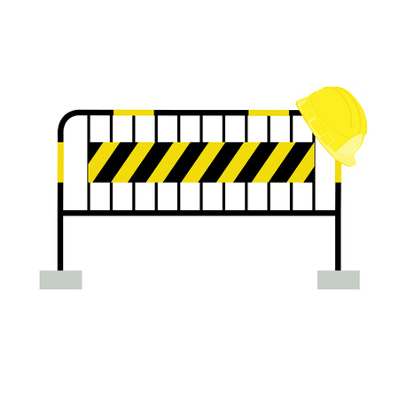 road barrier: Yellow,black, striped road barrier and yellow building helmet ,barricade, road block raster isolated