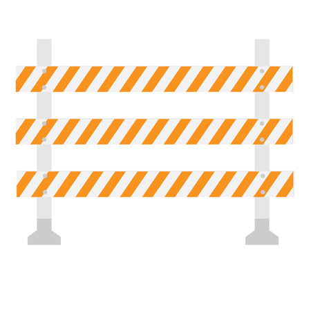 road barrier: Orange and white, triple, striped road barrier,barricade, road block raster isolated Stock Photo