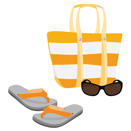 sunglasses recreation: Beach set with beach bag, sunglasses and flip flop raster Stock Photo