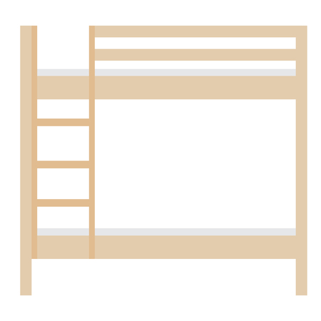 letto a castello: Wooden bunk bed raster illustration. Bedroom furniture. Empty bed. Children bunk bed with stairs