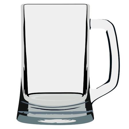 beer stein: raster illustration of empty beer mug. Glass for beer Stock Photo