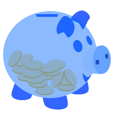 dime: Blue piggy bank with coins raster isolated on white