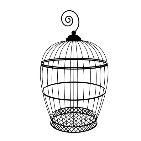 birdcage: Birdcage raster isolated, bird cage silhouette, vintage birdcage