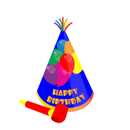 party hat: Party hat and noisemaker, birthday hat, party hat, noisemaker