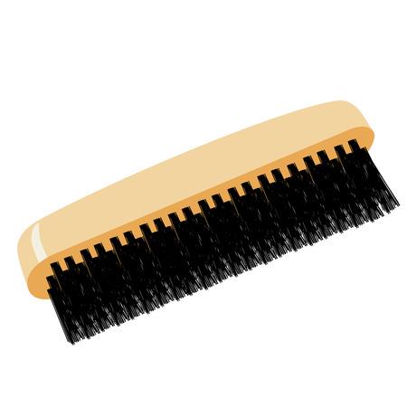 bristle: Shoe brush raster icon isolated, wooden handle and black bristle Stock Photo