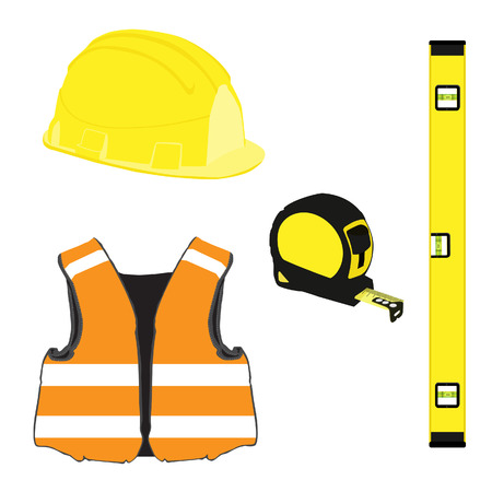 workwear: Yellow building set with bubble level, building helmet, vest, tape measure, protective workwear