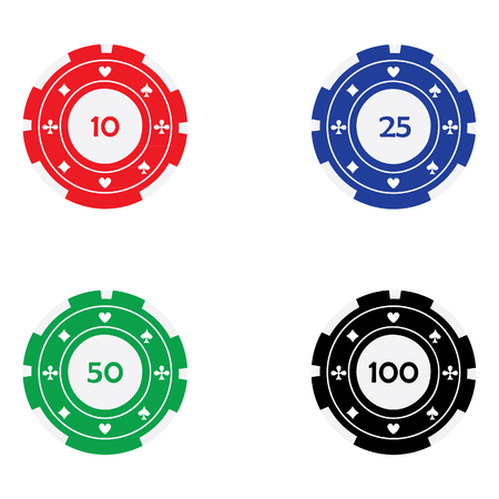 gambling chips: raster illustration of different color casino chips red, blue, green and black with card suits. Poker chips. Gambling chips. Casino chips with nominal value