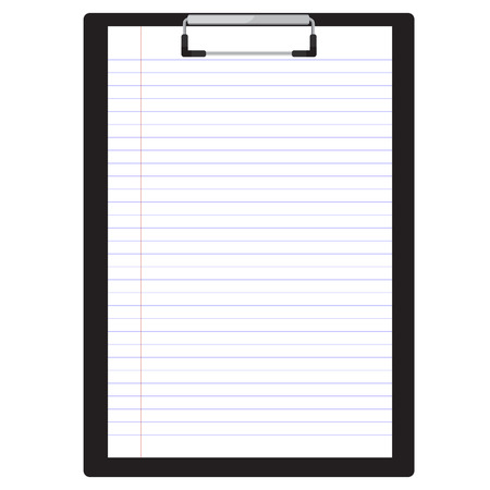 notebook paper: raster illustration of black clipboard with white blank paper.  Clipboard icon. Lined paper. Notebook paper