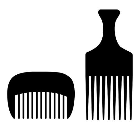 haircutting: Two black different hairdresser, barber hair combs raster set isolated Stock Photo