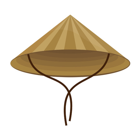 man hat: Chinese conical straw hat raster isolated on white