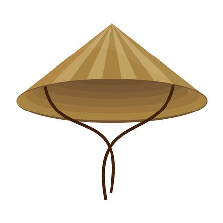 cappelli: Cinese conico cappello di paglia raster isolato su bianco Archivio Fotografico
