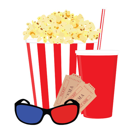 3d glasses: Cinema food with salt popcorn, disposable cola cup with straw, 3d glasses and tickets. Set of movie design elements and cinema icons.