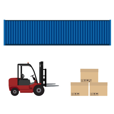 car loader: Loader car, blue cargo container and three carton boxes with shipping symbols raster illustration. Delivery service. Delivery icon set