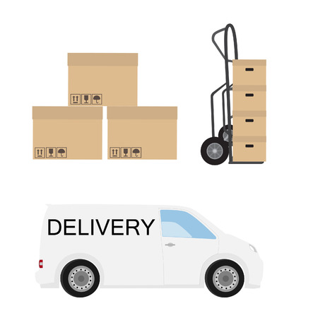 express delivery: Delivery icon set. White delivery van, hand truck and carton boxes. Express delivery. Stock Photo