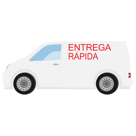 delivery car: Delivery car with spanish text  fast delivery raster icon, delivery truck, delivery service