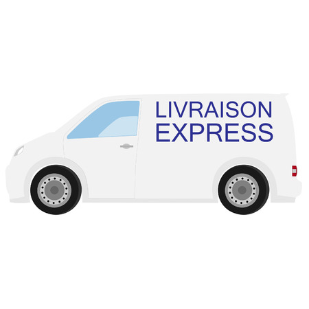 delivery car: Delivery car with french text fast delivery raster icon, delivery truck, delivery service Stock Photo