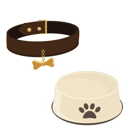 empty bowl: Dog bowl and brown collar raster icon set isolated, empty dog bowl, dog collar tag Stock Photo