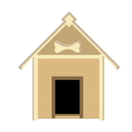dog kennel: Brown wooden dog house, home,kennel raster isolated, backyard