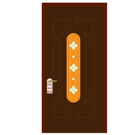 hotel door: raster illustration of wooden door with stained glass window and golden handle with please do not disturb sign on it. Closed door. House door. Front door. Hotel door Stock Photo