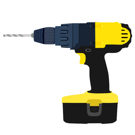 electric hole: Drill driver, electric drill, drill driver isolated, drilling, yellow drill driver