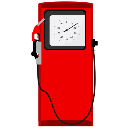filling: Red petroleum filling column with indicator raster icon isolated