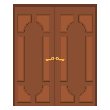 door handle: raster illustration of old wooden double door. Closed door. Front door Stock Photo