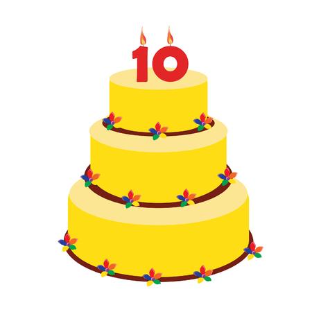 number ten: Torta de cumplea�os con la vela del cumplea�os n�mero diez en la parte superior. Pastel de cumplea�os D�cimo.
