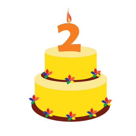 Torta di compleanno, due anni, secondo raster compleanno, torta di compleanno con le candele Archivio Fotografico - 46534449