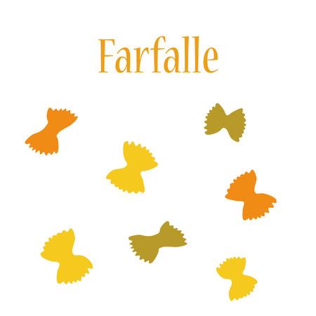 macaroni: Farfalle pasta raster isolated, macaroni icon, pasta collection