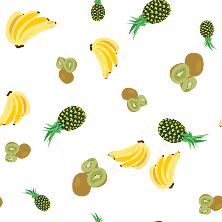 kiwi fruit: Fruit pattern, semless pattern, fruit background, banana, pineapple, kiwi fruit Stock Photo