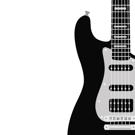 fingerboard: raster illustration of music background with black electric guitar. Music poster. Music festival. Guitar poster. Concert poster