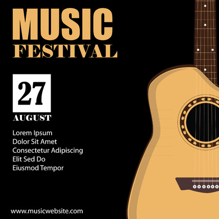 fingerboard: raster illustration of music background with acoustic guitar. Music poster. Music festival. Guitar poster. Concert poster
