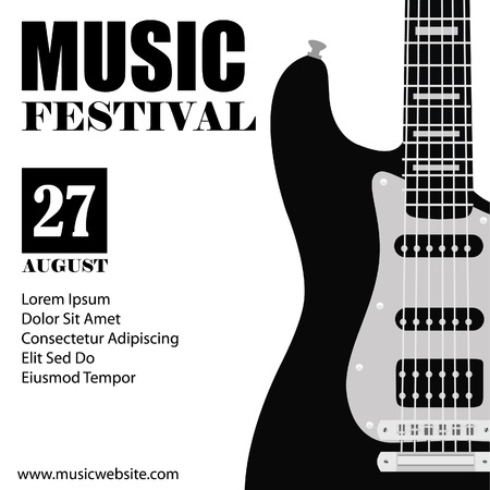 rock: raster illustration of music background with black electric guitar. Music poster. Music festival. Guitar poster. Concert poster