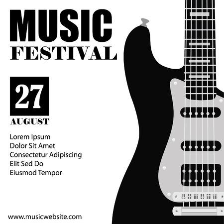 gitara: Raster ilustracji tle muzyki z czarnym gitara elektryczna. Plakat muzyki. Festiwal muzyki. Plakat Gitara. Concert plakatu Zdjęcie Seryjne