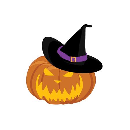 jack o' lantern: raster illustration halloween pumpkin with witches hat. Jack O Lantern Stock Photo