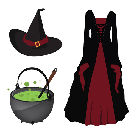 black dress: Halloween raster icon set witch hat and corset dress, boiling kettle with green poison